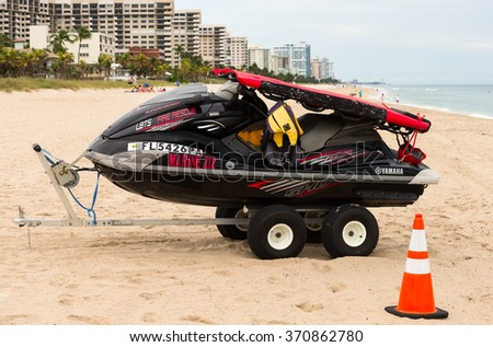 LAUDERDALE BY THE SEA, FL - JANUARY 10: Fire Rescue Jetski on the beach in Lauderdale By The Sea in Florida on January 10, 2016 - stock photo