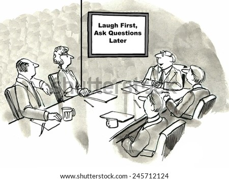 Laugh first, ask questions later - stock photo
