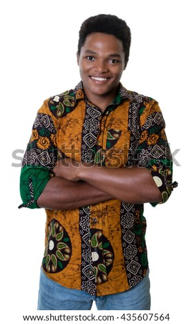 Laughing african american guy with typical clothes from Africa - stock photo