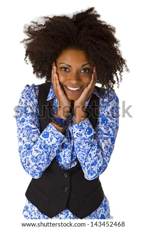 Laughing african american woman isolated on white background - stock photo