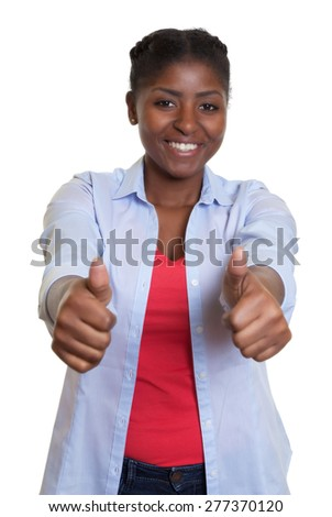 Laughing african woman showing both thumbs up - stock photo