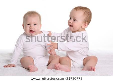 laughing babies - stock photo