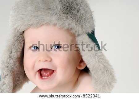 Laughing baby boy 3 - stock photo