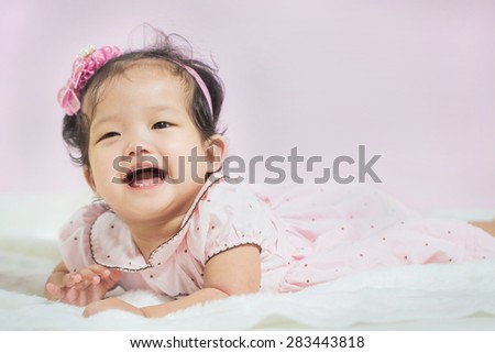 laughing baby,cheerful good mood - stock photo