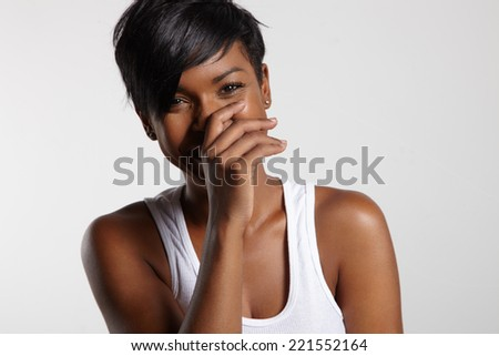 laughing black woman - stock photo