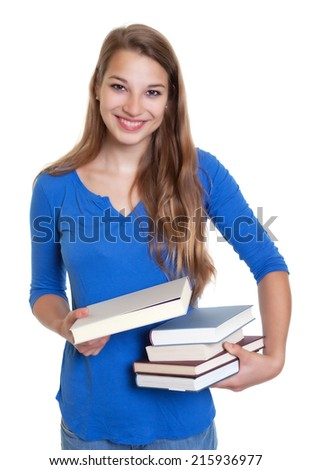 Laughing blond student recommending a book