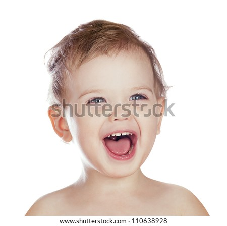 laughing boy isolated - stock photo