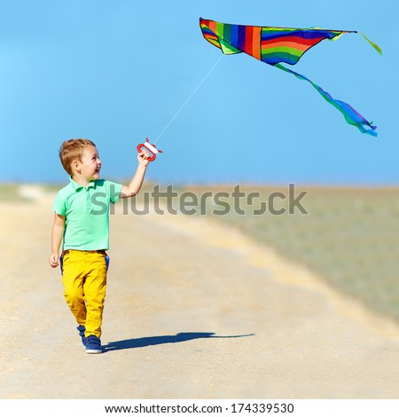 laughing boy playing with kite on summer field - stock photo