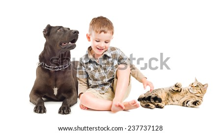 Laughing boy sitting with a dog and cat - stock photo