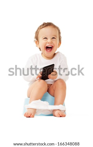 Laughing boy with smartphone sitting on the pot on isolated white - stock photo