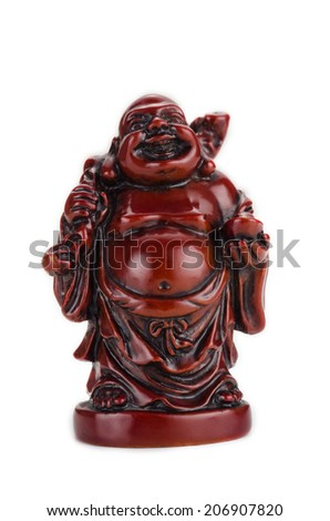Laughing Buddha stands - stock photo