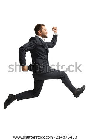 laughing businessman running over white background