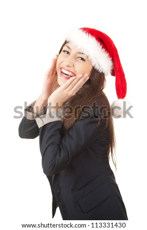 laughing businesswoman in santa claus hat, white background - stock photo