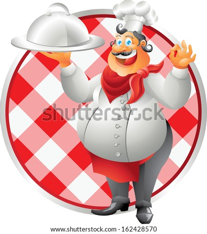 laughing chef with plate table cloth - stock photo