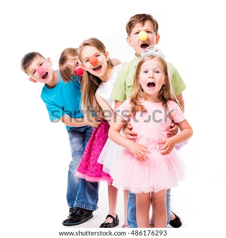 laughing children with clown noses standing one by one and holding each other