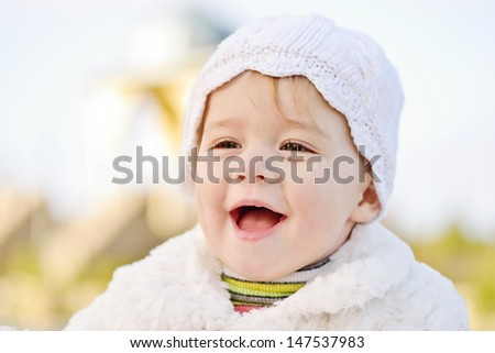 laughing face of baby girl