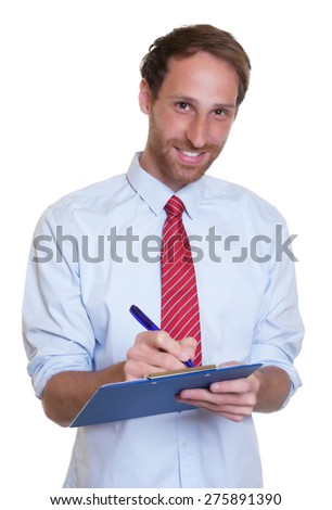 Laughing german businessman with clipboard  - stock photo