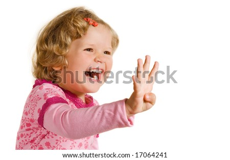 Laughing girl is showing four fingers