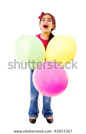 Laughing girl with balloons isolated on white