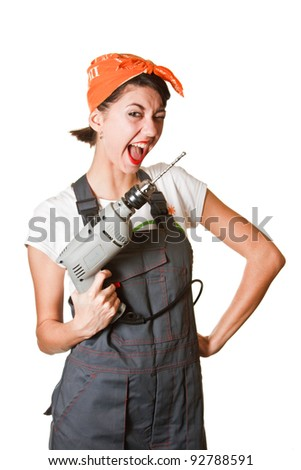 Laughing girl with drill isolated on white background