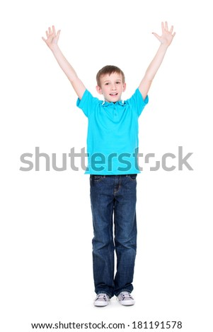 Laughing happy boy with raised hands up in a blue t-shirt - isolated on white background. - stock photo