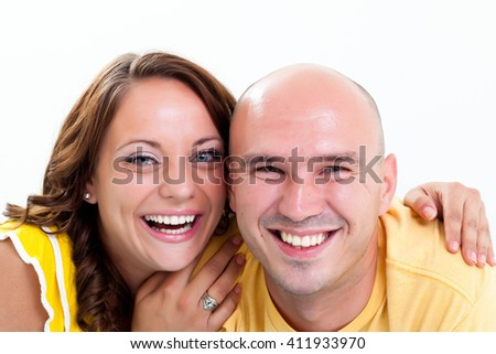 Laughing happy couple - stock photo