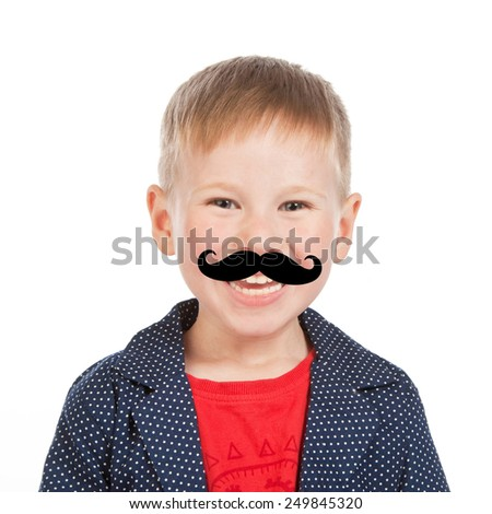 Laughing kid portrait with large false mustache like a hipster, isolated - stock photo