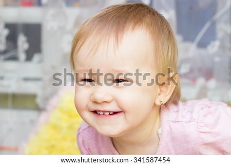 laughing little girl, Beautiful smiling cute baby - stock photo