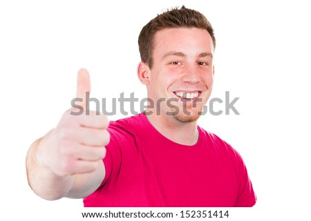 Laughing man gives the thumbs