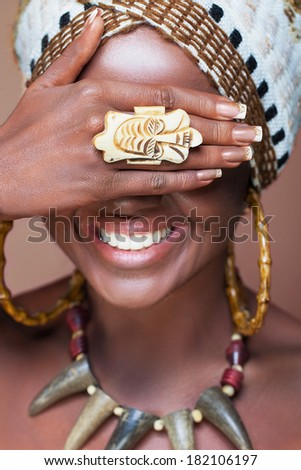 Laughing native African woman