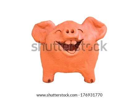 Laughing pig statue in Thailand  - stock photo