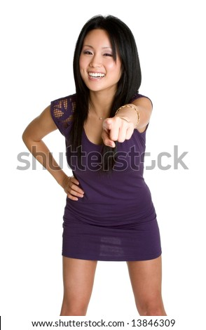 Laughing Pointing Woman - stock photo