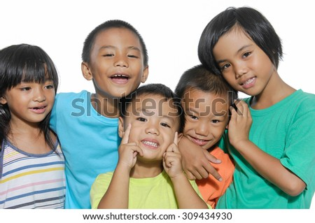 laughing small kids - stock photo