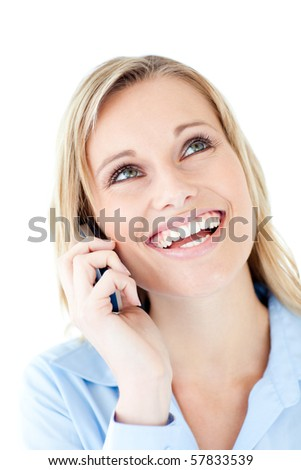 Laughing woman calling against white background
