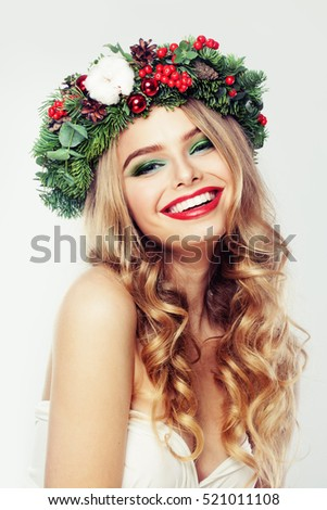 Laughing Woman Fashion Model with Blonde Hair and Make-up