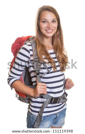 Laughing woman with a backpack - stock photo