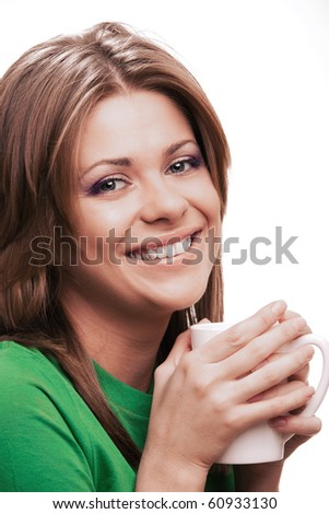 Laughing woman with cup of coffee [ isolated on white ]