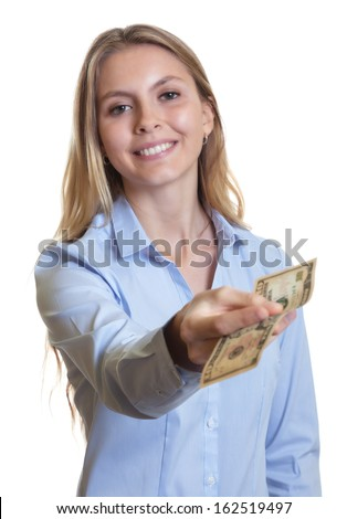 Laughing woman with long blond hair giving dollar note