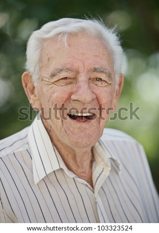 Laughing 90 year old elder senior healthy man portrait - stock photo