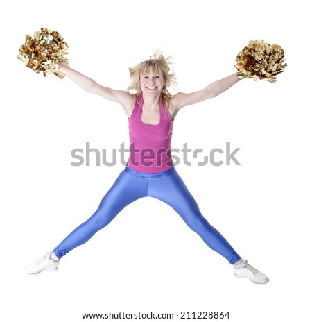laughing young blond cheerleader jumping