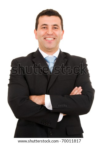 Laughing young business man portrait isolated on white
