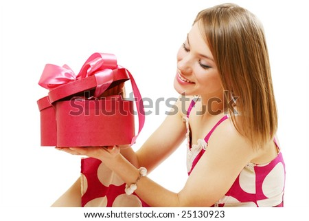 laughing young girl with gift