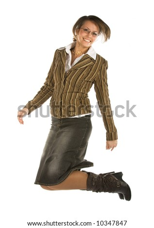 laughing young jumping female office worker