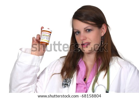 Laughter Is The Best Medicine - A woman doctor holding a bottle of prescription pills