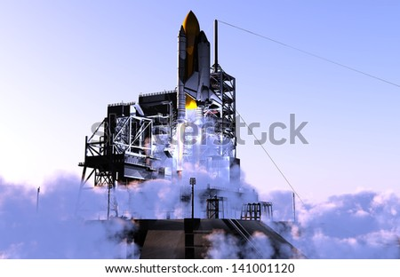 Launch a spacecraft into space. - stock photo