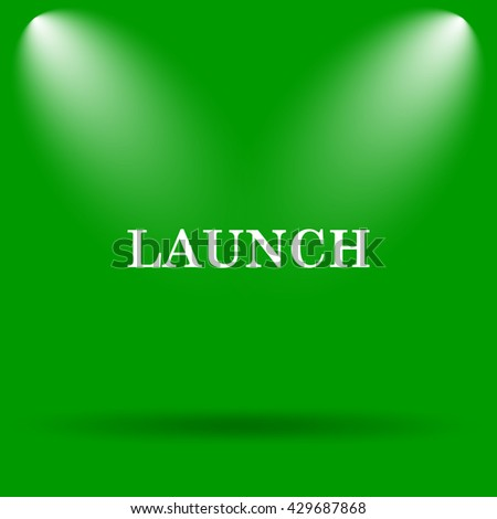 Launch icon. Internet button on green background. - stock photo