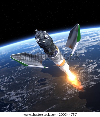 Launch Of Cargo Spacecraft. 3D Scene. Elements of this image furnished by NASA.