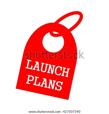 Launch Plans white wording on background red key chain