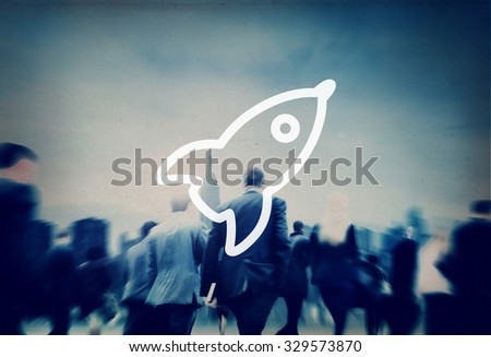 Launch Startup Innovation Improvement Rocket Concept - stock photo