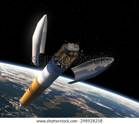 Launching Of Interplanetary Space Station. 3D Scene.